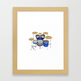 Blue Drum Kit Framed Art Print