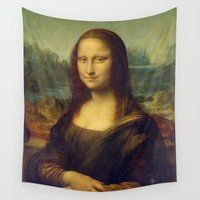 mona lisa Wall Tapestries featuring Mona Lisa by Leonardo da Vinci by Palazzo Art Gallery