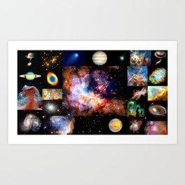 Space Galaxy Nebula Collage Art Print