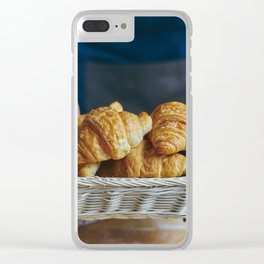 Croissant in a wicker basket Clear iPhone Case