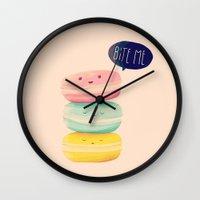 nan lawson Wall Clocks featuring Bite Me by Nan Lawson