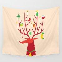 reindeer Wall Tapestries featuring Reindeer by Wharton