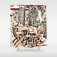 outdoor Shower Curtains featuring Outdoor Lunch by Losal Jsk