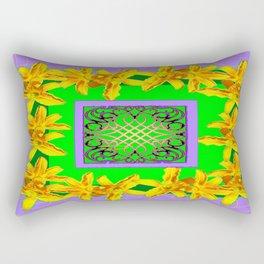 Modern Lilac Pattern Yellow Lilies Green  Abstract Rectangular Pillow