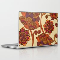 boho Laptop & iPad Skins featuring Boho Flowers by Valentina Harper