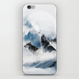 Winter Wolves, Wildlife Wolf Wild Dogs, Snow Full Moon Animals Photography Love Digital Art iPhone Skin