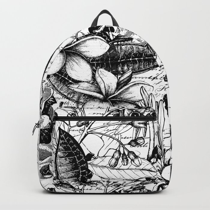 Black and white tropical flower Backpack