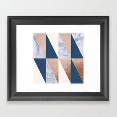 Copper Navy Marble Framed Art Print