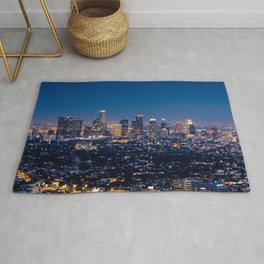 Los Angeles, California, I love LA Downtown Skyline, Golden lights, USA Sunset Blvd, Palms, Cali Map Rug
