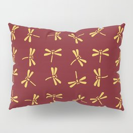 Japanese Dragonflies - Crimson and Gold Pillow Sham