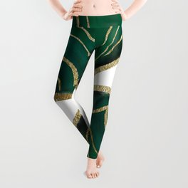 Emerald Agate Gold Glam #1 #gem #decor #art #society6 Leggings