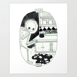 Five of Mugs Skeleton Tarot Art Print