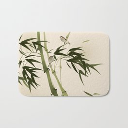 Oriental style painting, bamboo branches Bath Mat