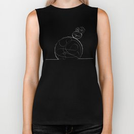 cactus single line drawing (white) Biker Tank
