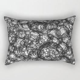 Black Ink on White Rectangular Pillow