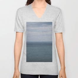Blue seascape landscape in Ireland Unisex V-Neck