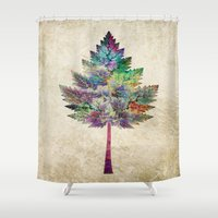 autumn Shower Curtains featuring Like a Tree 2. version by Klara Acel