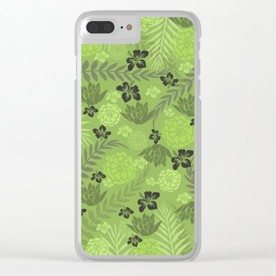 Greenery Floral Clear iPhone Case
