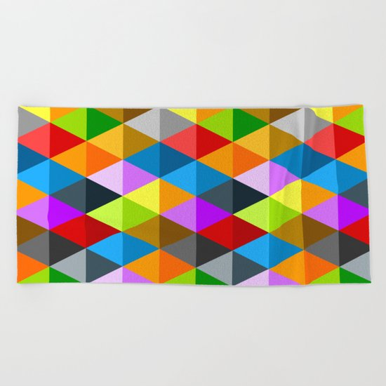 Modern bright funky colorful triangles pattern Beach Towel