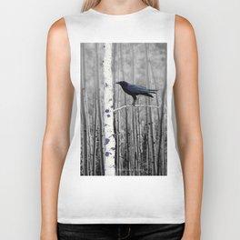 Black Bird Crow Tree Birch Forrest Black White Country Art A135 Biker Tank