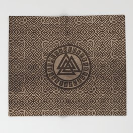 Valknut Symbol and Runes on Celtic Pattern on Wood Throw Blanket