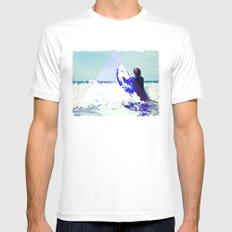 Surfing Devon White Mens Fitted Tee MEDIUM