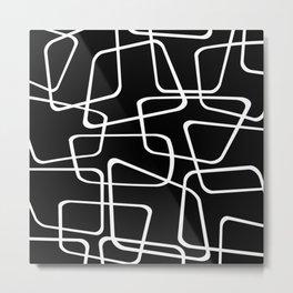 Mid Century Black and White Pattern Metal Print