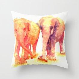 A couple of elephants Throw Pillow
