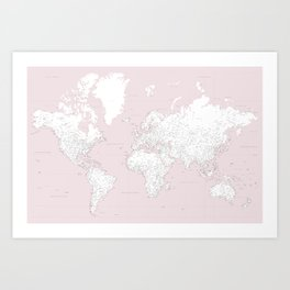 World map, highly detailed in dusty pink and white Kunstdrucke