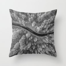 Snow pine forest Throw Pillow