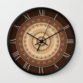 Mandala in brown,  peach and skin tones Wall Clock