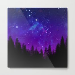 Galaxy Over the Forest at Night Metal Print