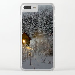 Tiny Cabin In The Winter Forest Snow Covered Pine Trees Clear iPhone Case