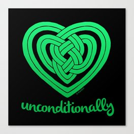 UNCONDITIONALLY in green on black Canvas Print
