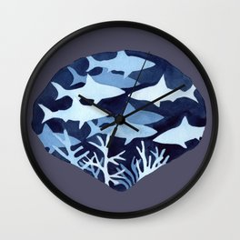Shark Negative Painting with dark background Wall Clock