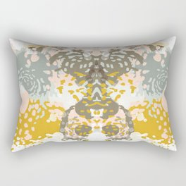 Hutton - Modern abstract painting for home decor and cell phone cases in gold grey mint white Rectangular Pillow