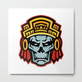 Aztec Warrior Skull Mascot Metal Print