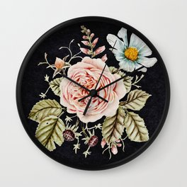 Rose and Foxglove Moody Watercolor Wall Clock