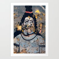 hindu Art Prints featuring Hindu mural by Rick Onorato