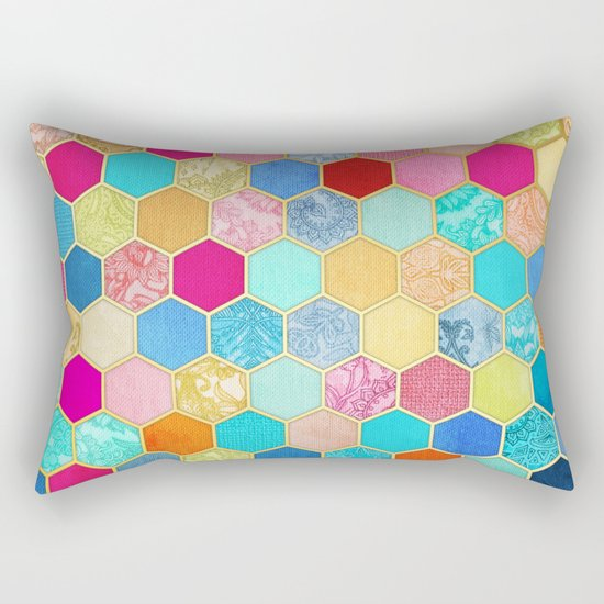 Patterned Honeycomb Patchwork in Jewel Colors Rectangular Pillow
