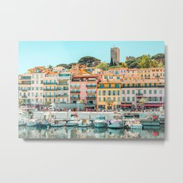 Cannes City Print, Luxurious Yachts And Boats, French Riviera, Travel Print, City Marina Port In France Poster, Colored Houses Photography, Colorful Home, Home Decor, Wall Art Print Metal Print