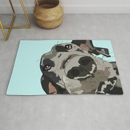 Great Dane in your face (teal) Rug