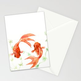 Koi Fish, Feng Shui, Goldfish art, Two fish, Stationery Cards