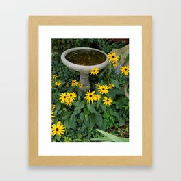 Garden with Birdbath & Yellow Coneflowers Framed Art Print
