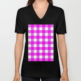 Gingham (Fuchsia/White) Unisex V-Neck