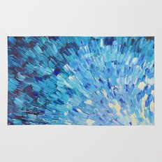 SEA SCALES IN INDIGO - Stunning Ocean Waves Mermaid Fish Navy Royal Blue Marine Abstract Painting Rug