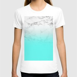 Modern bright aqua blue ombre gradient white marble by Girly Trend T-shirt