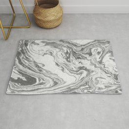 Akio - black and white grey minimal modern abstract marble painting retro minimalism urban bklyn Rug