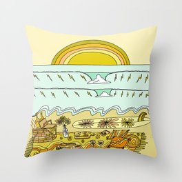 lets stay here awhile picnic in paradise // retro surf art by surfy birdy Throw Pillow