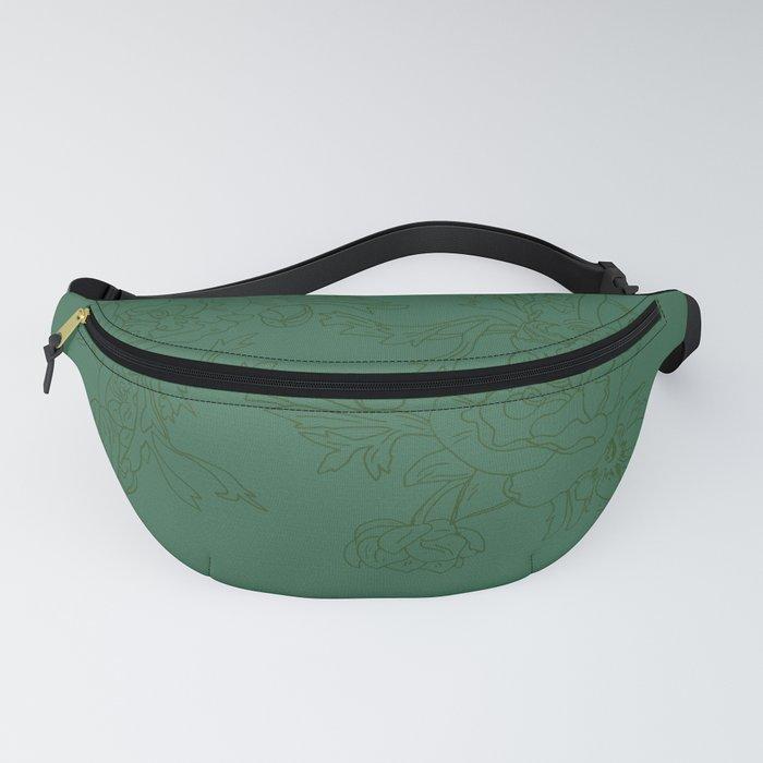 Floral Ink - Emerald & Olive Ranunculus Fanny Pack